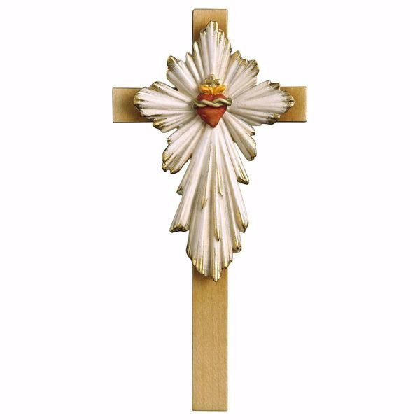 Picture of Sacred Heart of Jesus Cross cm 25x12 (9,8x4,7 inch) wooden Wall Sculpture painted with oil colours Val Gardena