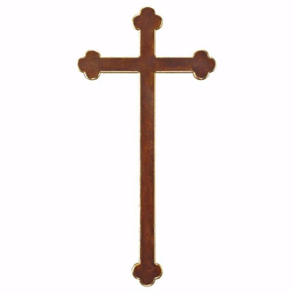 Immagine di Croce Barocca cm 124x62 (55,9x24,4 inch) Scultura da parete Brunita in legno Val Gardena