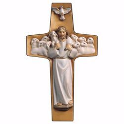 Picture of Cross Good Shepherd White cm 40x24 (15,7x9,4 inch) wooden Wall Sculpture painted with oil colours Val Gardena