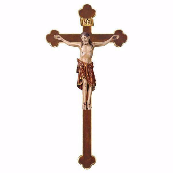 Imagen de Cuerpo de Cristo Románico Rojo sobre Cruz Barroca cm 124x62 (55,9x24,4 inch) Estatua anticuada oro en madera Val Gardena
