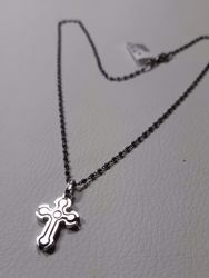 Picture of Necklace Silver 925 with Double Cross 2 colours cm 50 Burnished diamond cut Spheres Unisex for Woman and Man