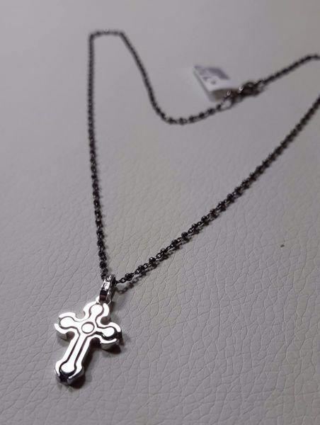 Immagine di Collana Argento 925 Croce Trilobata bicolore con catena cm 50 a sfere diamantate da Donna e Uomo