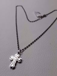 Picture of Necklace Silver 925 with Double Cross 2 colours cm 50 Burnished diamond cut Spheres