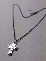 Immagine di Collana Argento 925 Croce Trilobata bicolore con catena cm 50 a sfere diamantate