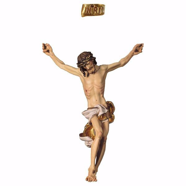 Picture of Corpus of Christ Baroque White body for Crucifix cm 170x137 (66,9x53,9 inch) wooden Statue painted with oil colours Val Gardena