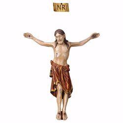 Immagine di Corpo di Cristo Romanico Rosso per Crocifisso cm 32x26 (12,6x10,2 inch) Statua antichizzata oro in legno Val Gardena