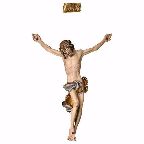 Imagen de Cuerpo de Cristo Barroco Azul para Crucifijo cm 37x30 (14,6x11,8 inch) Estatua pintada al óleo en madera Val Gardena