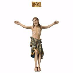 Imagen de Cuerpo de Cristo Románico Azul para Crucifijo cm 40x32 (15,7x12,6 inch) Estatua anticuada oro en madera Val Gardena