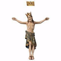 Imagen de Cuerpo de Cristo Románico Azul con Corona para Crucifijo cm 40x32 (15,7x12,6 inch) Estatua anticuada oro en madera Val Gardena
