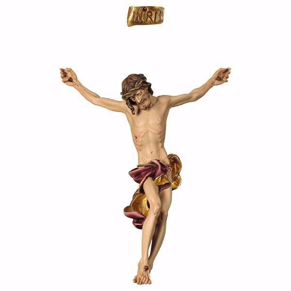 Imagen de Cuerpo de Cristo Barroco Rojo para Crucifijo cm 48x39 (18,9x15,4 inch) Estatua pintada al óleo en madera Val Gardena