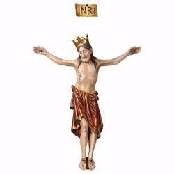 Imagen de Cuerpo de Cristo Románico Rojo con Corona para Crucifijo cm 62x50 (24,4x19,7 inch) Estatua anticuada oro en madera Val Gardena