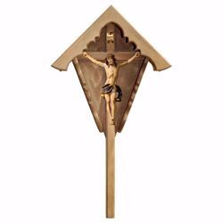 Picture of Outdoor Nazarene Field Crucifix Blue Wayside Shrine Cross cm 63x34 (24,8x13,4 inch) wooden Statue painted with oil colours Val Gardena