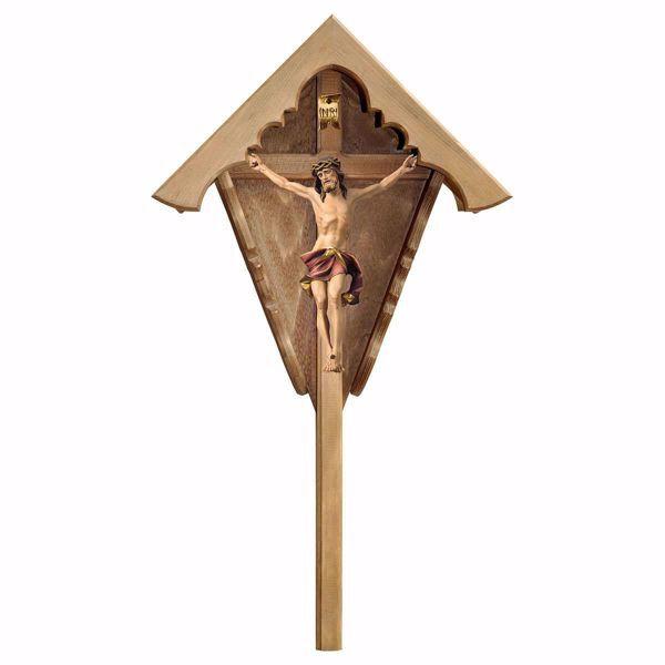 Imagen de Crucifijo de campo Nazareno Rojo Cruz carretera para exterior cm 63x34 (24,8x13,4 inch) Estatua pintada al óleo en madera Val Gardena