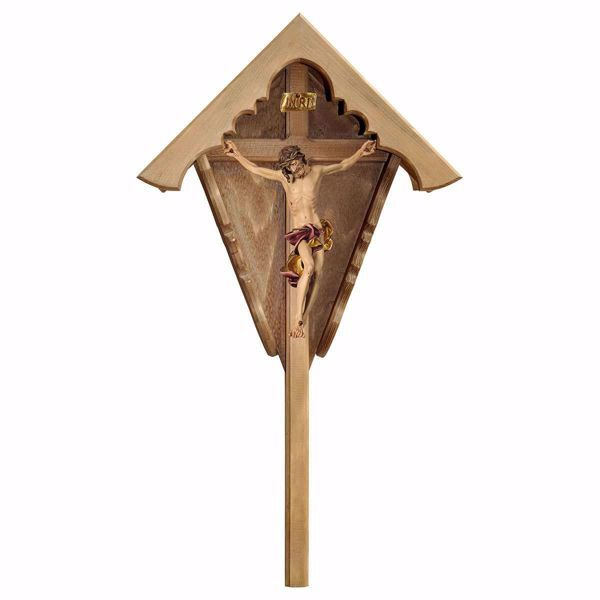 Picture of Outdoor Field baroque Crucifix Red Wayside Shrine Cross cm 94x51 (37,0x20,1 inch) wooden Statue painted with oil colours Val Gardena