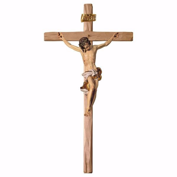 Immagine di Crocifisso Barocco Bianco su Croce dritta cm 101x53 (39,8x20,9 inch) Scultura da parete dipinta ad olio in legno Val Gardena