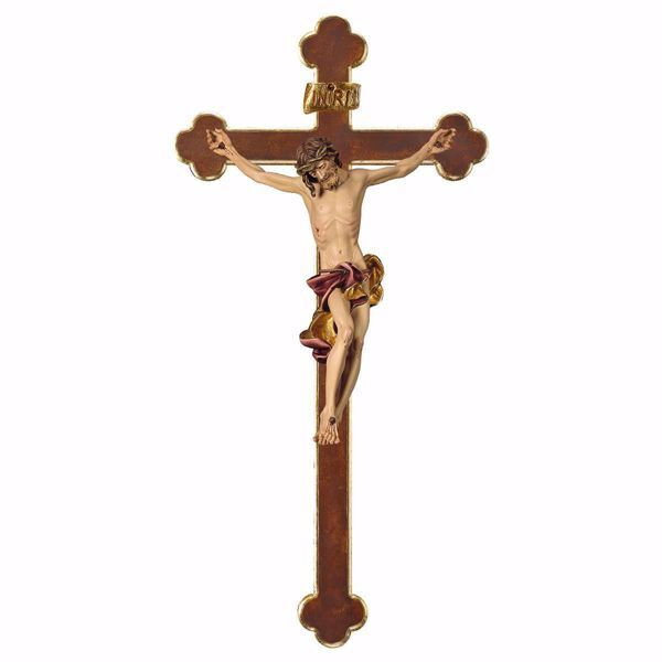 Picture of Baroque Crucifix Red on Baroque Cross cm 101x53 (39,8x20,9 inch) wooden Wall Sculpture painted with oil colours Val Gardena