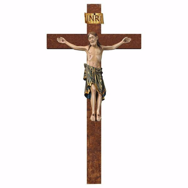 Picture of Romanesque Crucifix Blue on straight Cross cm 105x56 (41,3x22,0 inch) wooden Wall Sculpture antiqued with gold Val Gardena