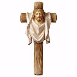 Picture of Cross of Passion Crucifix cm 11x5,5 (4,3x2,2 inch) wooden Wall Sculpture painted with oil colours Val Gardena