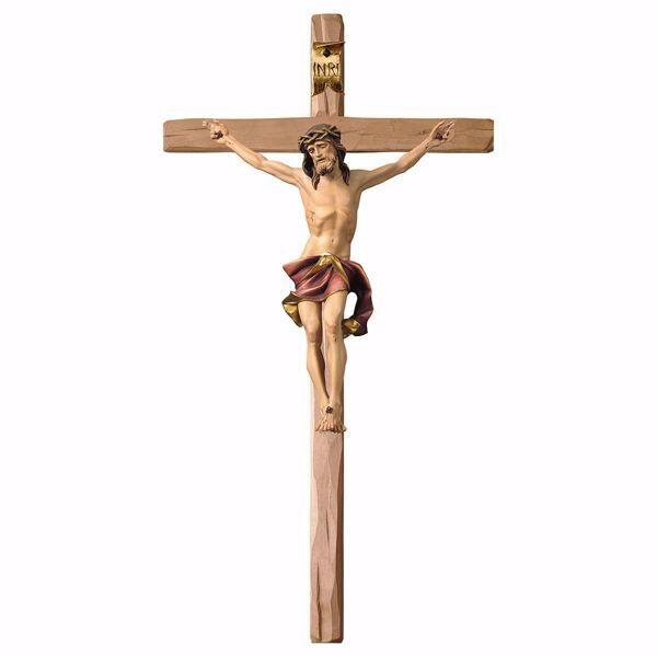 Immagine di Crocifisso Nazareno Rosso su Croce dritta cm 124x62 (55,9x24,4 inch) Scultura da parete dipinta ad olio in legno Val Gardena