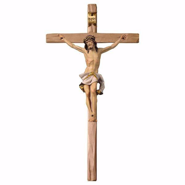 Immagine di Crocifisso Nazareno Bianco su Croce dritta cm 124x62 (55,9x24,4 inch) Scultura da parete dipinta ad olio in legno Val Gardena