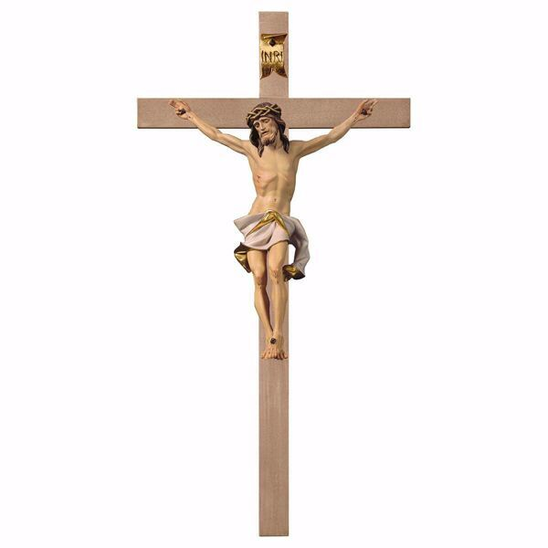 Immagine di Crocifisso Nazareno Bianco su Croce liscia cm 124x62 (55,9x24,4 inch) Scultura da parete dipinta ad olio in legno Val Gardena