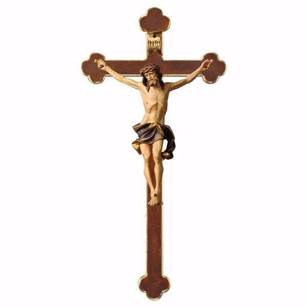 Picture of Nazarene Crucifix Blu on baroque Cross cm 124x62 (55,9x24,4 inch) wooden Wall Sculpture painted with oil colours Val Gardena