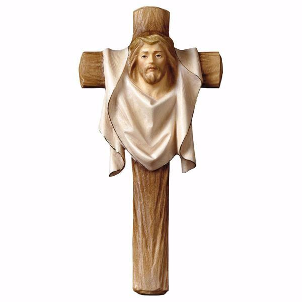 Picture of Cross of Passion Crucifix cm 14x7 (5,5x2,8 inch) wooden Wall Sculpture painted with oil colours Val Gardena