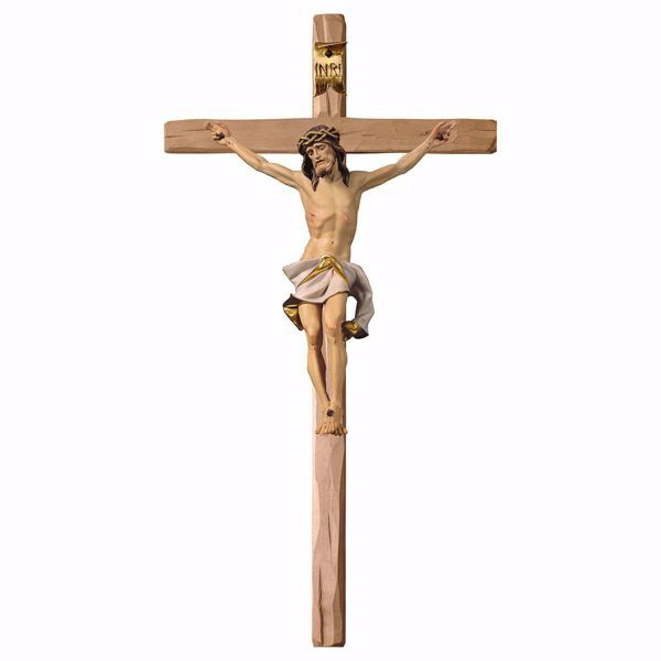 Picture of Nazarene Crucifix White on straight Cross cm 180x90 (70,9x35,4 inch) wooden Wall Sculpture painted with oil colours Val Gardena