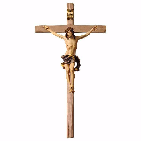 Immagine di Crocifisso Nazareno Blu su Croce dritta cm 220x110 (86,6x43,3 inch) Scultura da parete dipinta ad olio in legno Val Gardena