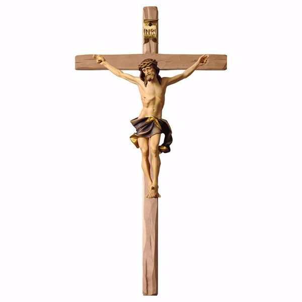 Picture of Nazarene Crucifix Blue on straight Cross cm 23x12 (9,1x4,7 inch) wooden Wall Sculpture painted with oil colours Val Gardena