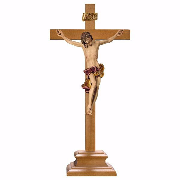 Picture of Baroque Crucifix Red standing Cross with pedestal cm 26x12 (10,2x4,7 inch) wooden Sculpture painted with oil colours Val Gardena