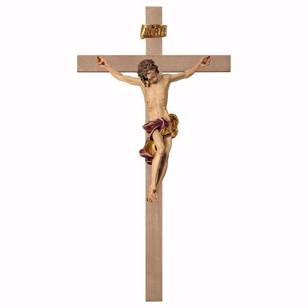 Imagen de Crucifijo Barroco Rojo sobre Cruz lisa cm 280x140 (110,2x55,1 inch) Escultura de pared pintada al óleo en madera Val Gardena