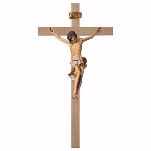 Immagine di Crocifisso Barocco Bianco su Croce liscia cm 280x140 (110,2x55,1 inch) Scultura da parete dipinta ad olio in legno Val Gardena