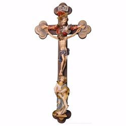 Picture of Baroque Crucifix the Holy Trinity cm 30x14 (11,8x5,5 inch) wooden Wall Sculpture painted with oil colours Val Gardena
