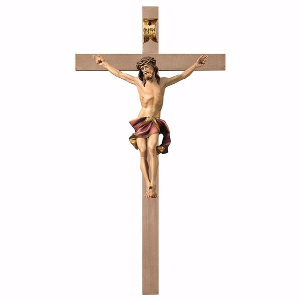 Immagine di Crocifisso Nazareno Rosso su Croce liscia cm 340x170 (134,0x66,9 inch) Scultura da parete dipinta ad olio in legno Val Gardena