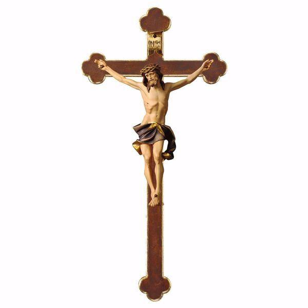 Imagen de Crocifisso Nazareno Blu su Croce Barocca cm 35x18 (13,8x7,1 inch) Scultura da parete dipinta ad olio in legno Val Gardena