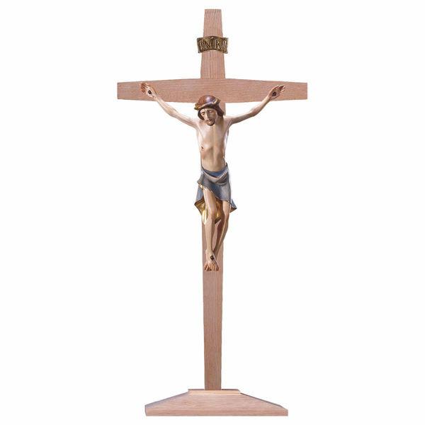 Immagine di Crocifisso Moderno su Croce con piedistallo cm 36x18 (14,2x7,1 inch) Scultura dipinta ad olio in legno Val Gardena
