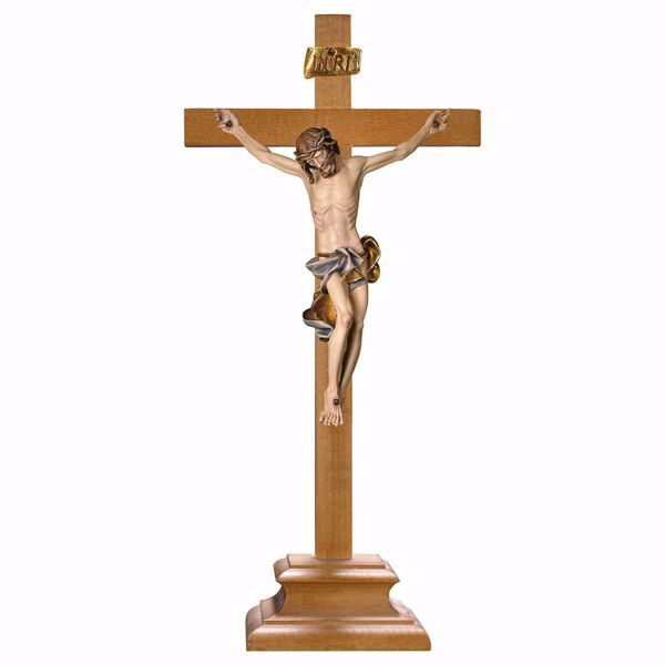 Picture of Baroque Crucifix Blue standing Cross with pedestal cm 39x18 (15,4x7,1 inch) wooden Sculpture painted with oil colours Val Gardena