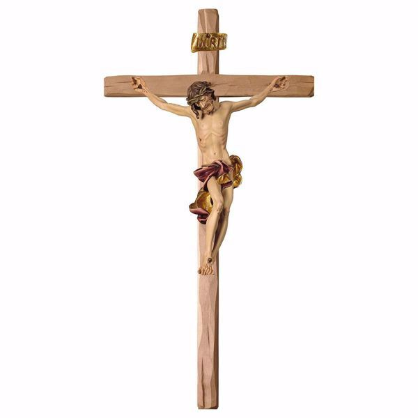 Picture of Baroque Crucifix Red on straight Cross cm 400x200 (157,5x78,7 inch) wooden Wall Sculpture painted with oil colours Val Gardena