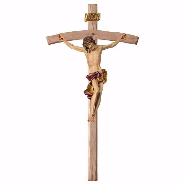 Picture of Baroque Crucifix Red on curved Cross cm 400x200 (157,5x78,7 inch) wooden Wall Sculpture painted with oil colours Val Gardena