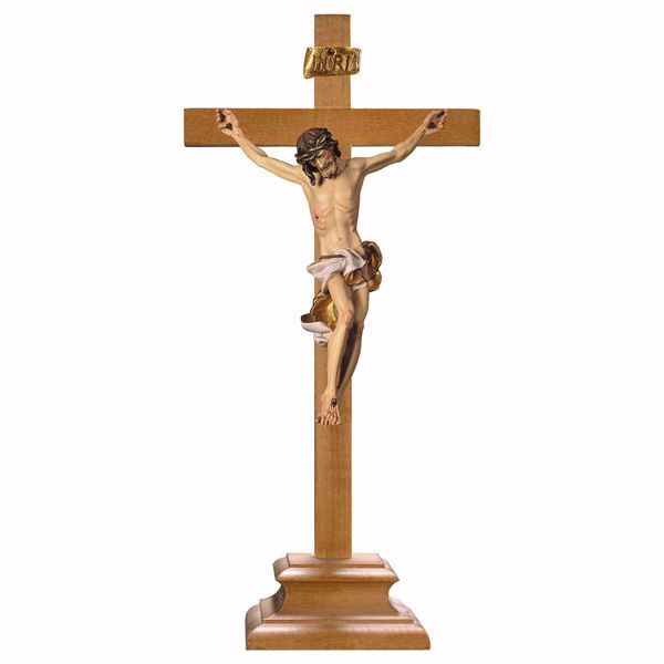 Picture of Baroque Crucifix White standing Cross with pedestal cm 51x24 (20,1x9,4 inch) wooden Sculpture painted with oil colours Val Gardena