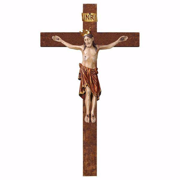 Immagine di Crocifisso Romanico Rosso con Corona su Croce dritta cm 58x32 (22,8x12,6 inch) Scultura da parete antichizzata oro in legno Val Gardena