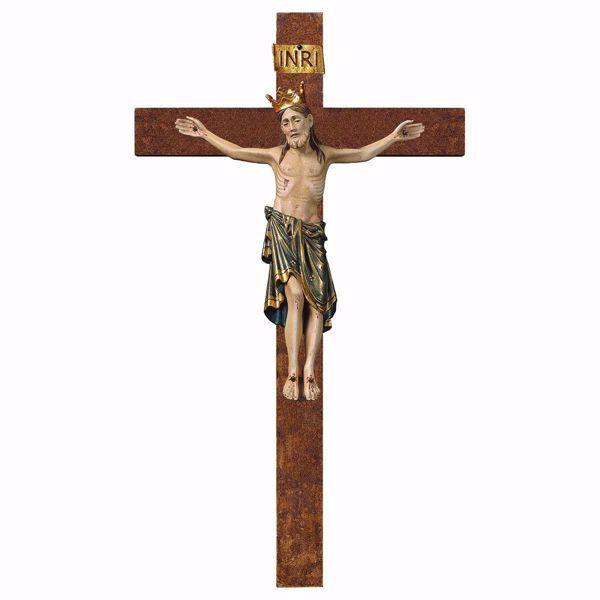 Imagen de Crucifijo Románico Azul con corona sobre Cruz recta cm 58x32 (22,8x12,6 inch) Escultura de pared anticuada oro en madera Val Gardena