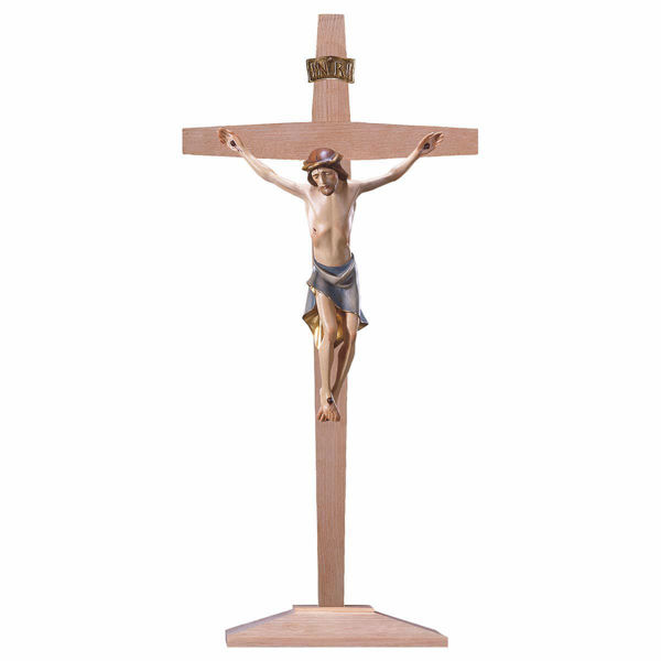 Immagine di Crocifisso Moderno su Croce con piedistallo cm 55x28 (21,7x11,0 inch) Scultura dipinta ad olio in legno Val Gardena