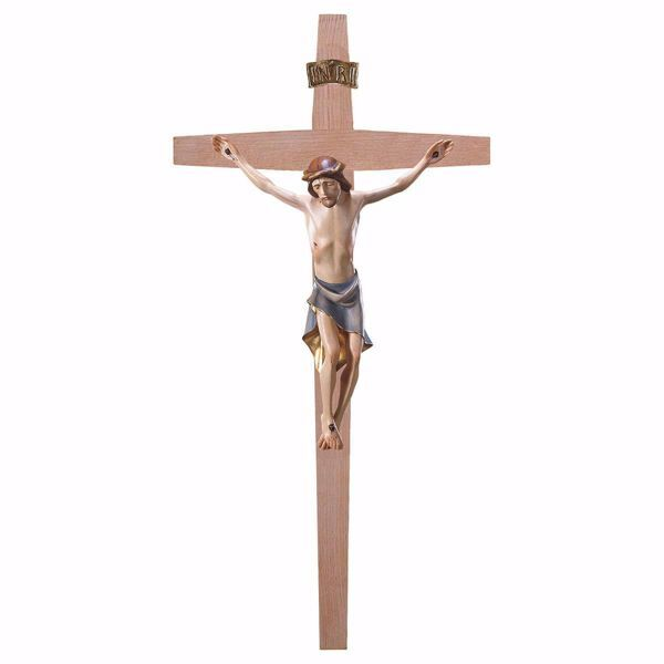 Picture of Modern style Crucifix on straight Cross cm 67x35 (26,4x13,8 inch) wooden Wall Sculpture painted with oil colours Val Gardena