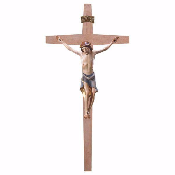 Imagen de Crucifijo estilo moderno sobre Cruz lisa cm 67x35 (26,4x13,8 inch) Escultura de pared pintada al óleo en madera Val Gardena