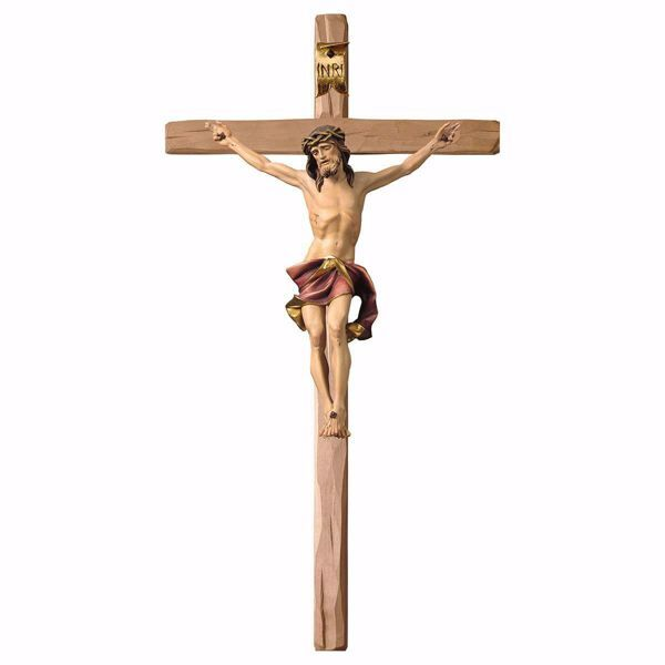 Picture of Nazarene Crucifix Red on straight Cross cm 67x35 (26,4x13,8 inch) wooden Wall Sculpture painted with oil colours Val Gardena