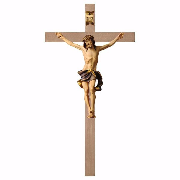 Picture of Nazarene Crucifix Blue on smooth Cross cm 67x35 (26,4x13,8 inch) wooden Wall Sculpture painted with oil colours Val Gardena