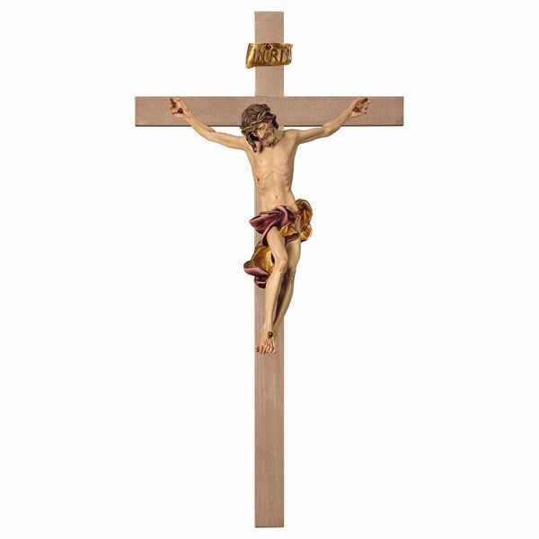 Picture of Baroque Crucifix Red on smooth Cross cm 67x35 (26,4x13,8 inch) wooden Wall Sculpture painted with oil colours Val Gardena