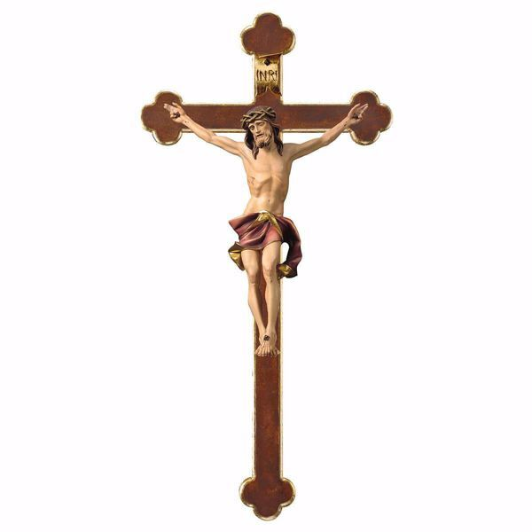 Picture of Nazarene Crucifix Red on baroque Cross cm 67x35 (26,4x13,8 inch) wooden Wall Sculpture painted with oil colours Val Gardena